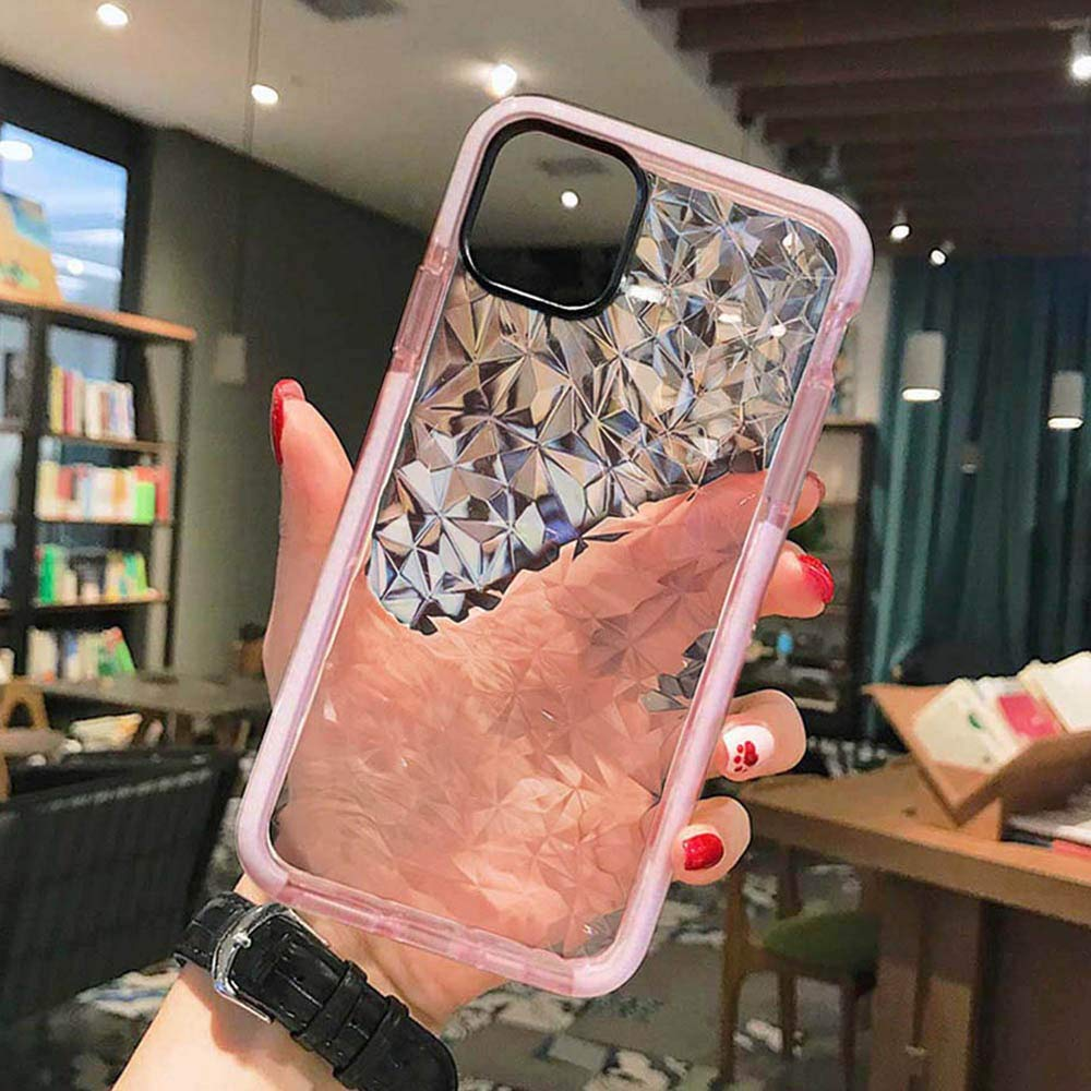 Superyong for iPhone 11 Case,Crystal Clear Slim Diamond Pattern Soft TPU Anti-Scratch Shockproof Protective Cover for Women Girls Men Boys with iPhone 11 6.1 Inch-Pink