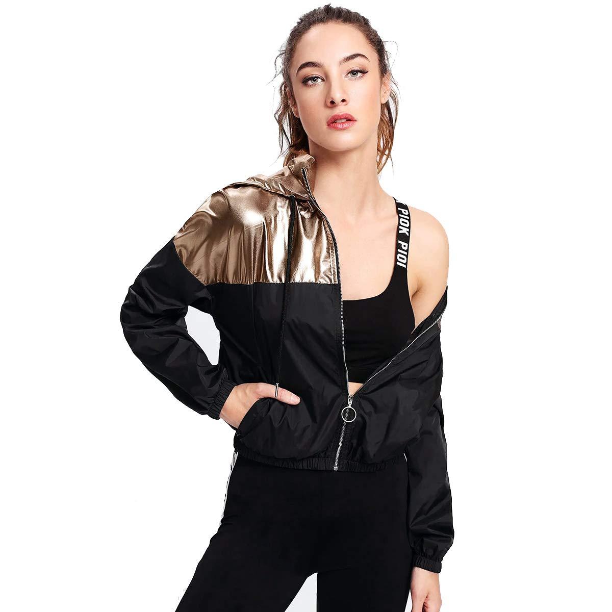Verdusa Women's Casual Drawstring Colorblock Zip Up Hoodie Pocket Jacket