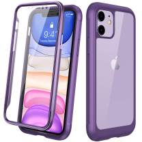 "Diaclara iPhone 11 Case, Full Body Rugged Case with Built-in Touch Sensitive Anti-Scratch Screen Protector, Soft TPU Bumper Case Cover Clear Designed for iPhone 11 6.1"" (Purple and Clear)"