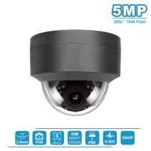 5MP Dome Security Camera, IP POE Outdoor Security Dome Camera, Onvif Compatible with Hikvision, 2.8mm Fixed Lens Grey Camera, H.265, 5MP IP66 Weatherproof Dome Video Surveillance Camera