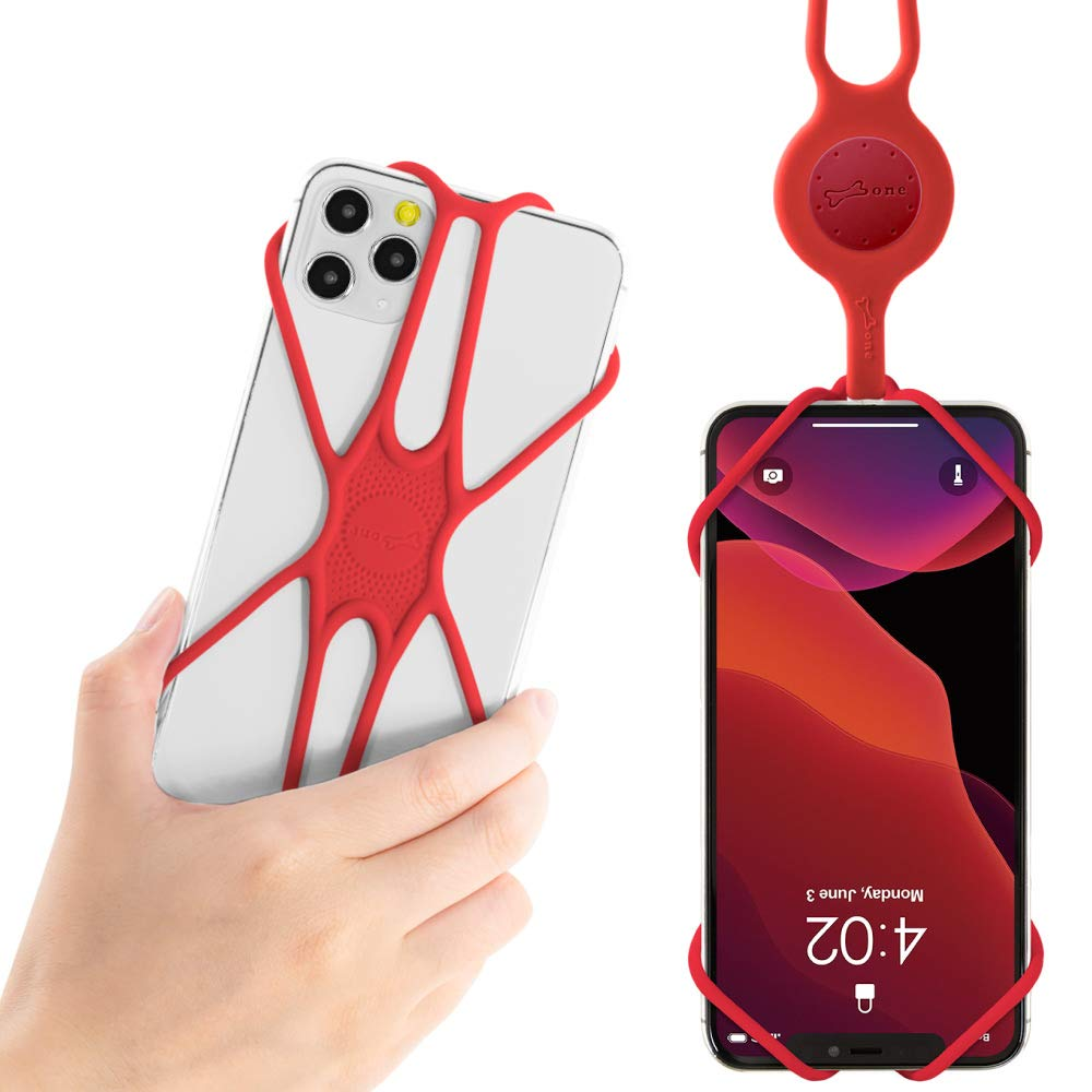 """Bone Cell Phone Lanyard Case, Universal Neck Phone Strap for iPhone 11 Pro Max, Galaxy S Pixel, Smartphone Case Silicone Straps, fits 4"""" to 6.5"""" Adjustable PhoneTie (2nd Gen) - Red"""