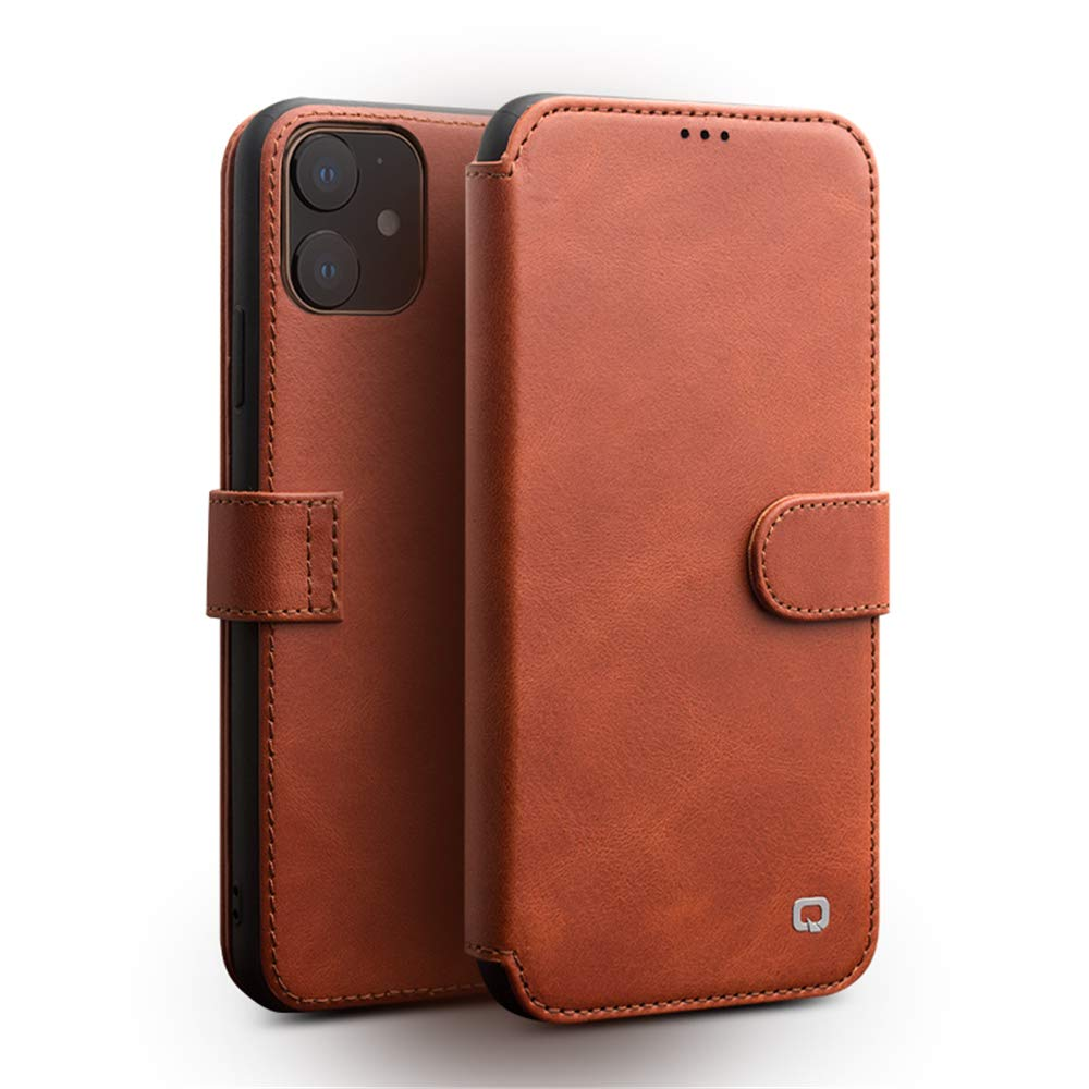 iPhone 11 Wallet Case QIALINO Genuine Leather Flip f Protective Sleeve and Card Slot Holder Best Blocking Covers Support Wireless Charging for iPhone 11(Light Brown,6.1inch)