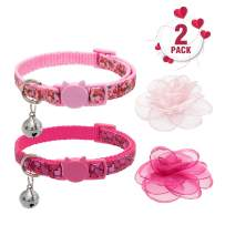 PUPTECK Cat Collar Breakaway with Bell and Removable Flower - 2 Pack Safety Collars for Cats Puppies Small Animals, Cute Pink Heart Rose Design