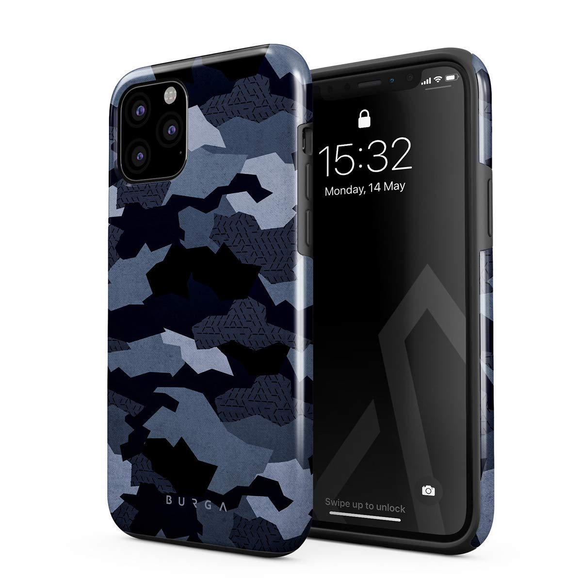 BURGA Phone Case Compatible with iPhone 11 PRO MAX - Navy Blue Camo Camouflage Cute Case for Girls Heavy Duty Shockproof Dual Layer Hard Shell + Silicone Protective Cover