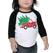 Bump and Beyond Designs Toddler and Kids Vintage Truck Christmas Shirt Boy and Girl 3/4 Sleeve Holiday Raglan