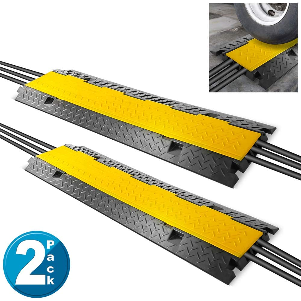 Pyle Ramp-3 Channel Rubber Floor Cord Concealer-Heavy Duty Cable Protector Wire/Hose/Pipe Hider Driveway Protective Covering Armor PCBLCO105X2 (Pair), Black and Yellow