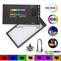 AMBITFUL K10 RGB LED Video Light 2500-8500K Dimmable 0-360 Full Color Mini Pocket Size with 9 Applicable Situation Modes,Built-in 3200 mAh Battery