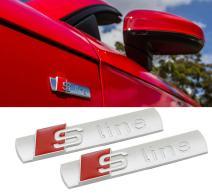 Deselen - LP-BS07 - Car Emblem Chrome Stickers Decals Badge Labeling for S Line A3, A4, A6, Q3,Q5, Q7, S6, S8, Pack of 2 (Frosting Silver)