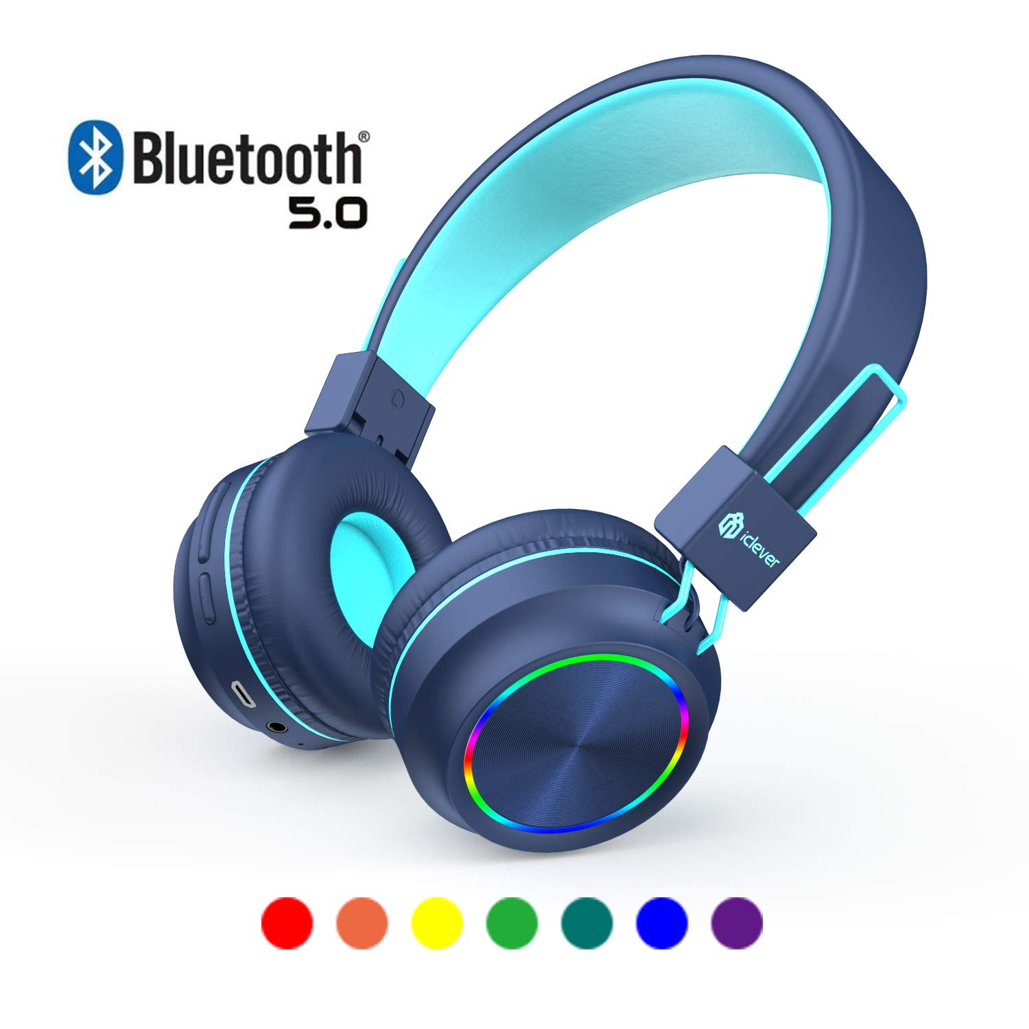 iClever Kids Wireless Headphones, Colorful LED Lights Kids Headphones with MIC, 25H Playtime, Stereo Sound, Bluetooth 5.0, Foldable, Childrens Headphones on Ear for Study Tablet Airplane School, Blue