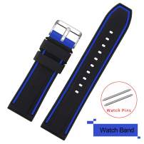 COHOLL Silicone Watch Bands - Quick Release Straps - Choose Color & Width - 20mm, 22mm, 24mm, or 26mm - Soft Silicone Rubber Replacement Watch Band (Blue with Black, 24mm)