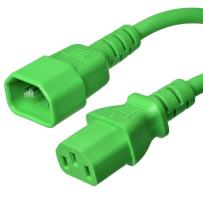 C14 to C13 Power Cord - Green, 2 Foot, 15A/250V, 14/3 AWG, IEC 60320 - Iron Box Part # IBX-6010-02