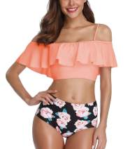 EasySmile Womens Two Pieces Swimsuits High Waist Bikini Flounce Ruffled Swimwear Bathingsuit S-XXL