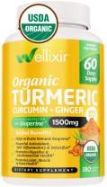 Wellixir Organic Turmeric Supplement – Curcumin with Bioperine Capsules – 180 Veggie Caps with Ginger Root Extract, Curcumin and Turmeric for Joint Health – 95% Curcuminoids Formula