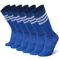 Getspor Soccer Tube Socks, Unisex Football Knee High Socks with Stripes