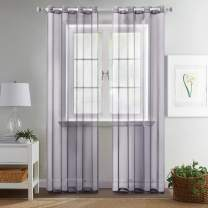 MIULEE 2 Panels Solid Color Greyish Lilac Sheer Curtains Elegant Grommet Window Voile Panels/Drapes/Treatment for Bedroom Living Room (54X108 Inch)