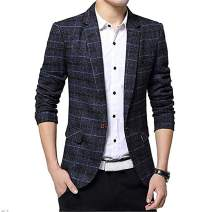 Men's Tweed Plaid Blazer Jacket Business Long Sleeve One Button Slim Fit Single-Breast Sport Coat Outwear
