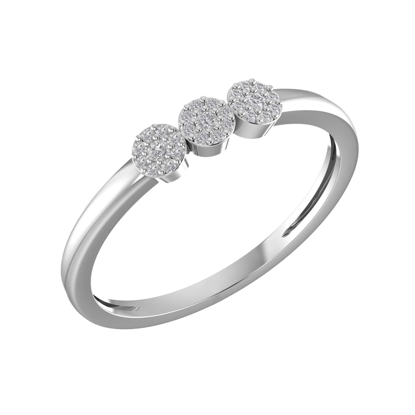 Amayra 0.09 CTW Diamond Ring - 27 Natural Round Stones in 925 Sterling Silver- Brilliant Cut US Size 4 (Color-GH Clarity-VS-SI)-Perfect for Bridal Promise Ring, Wedding Anniversary or Beautiful Gift