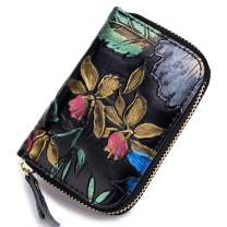 imeetu Card Case Leather Credit Card Holder RFID Blocking Wallet(Magnolia)
