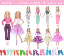 ebuddy Random Style 5pc Doll Dress 5pc Doll Outfit Sets and 10-Pairs Shoes Accessories for 11.5 inch Doll