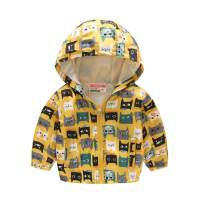 TUIJI Toddler Boys Girls Cartoon Print Zip Jacket Hooded Trench Lightweight Kids Coats Windbreaker Outdoor Cute Dust Coats