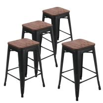 Andeworld Industrial Metal Bar Stools Counter Height Backless Barstools Stackable Set of 4 (24 Inch, Matte Black with Wooden Top)