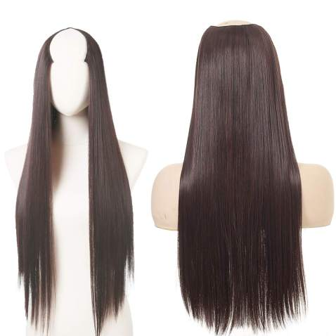 """Clip in Hair Extension Chocolate Brown U shape Full Head Straight Long 24"""" 0.37lb 170g Synthetic Hairpiece For Women Natural Real Hair Piece Japan High Temperature Fiber(UH16#4/33)"""
