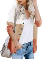 Women's Color Block Button Down Cardigans Striped Open Front Long Sleeve Knitted Sweater Outwear