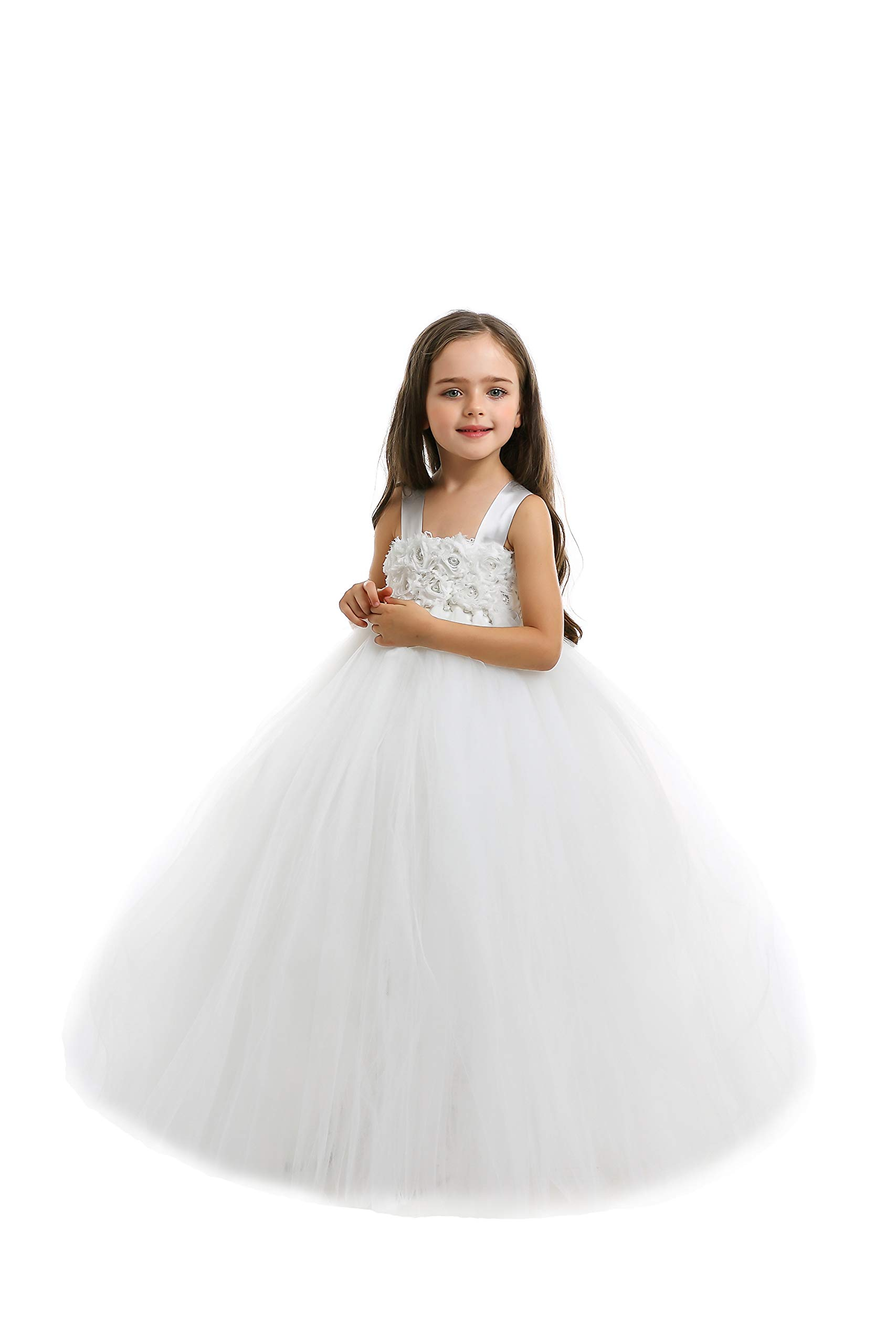Ankle Length Ivory  Tutu Dress Flower Girl Dress with Lace Stretch Crochet Bodice