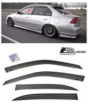 Extreme Online Store Replacement for 2001-2005 Honda Civic Sedan | EOS Visors JDM Tape-On Smoke Tinted Side Window Visors Rain Guard Deflectors DWV-HC0105-4DR-OE