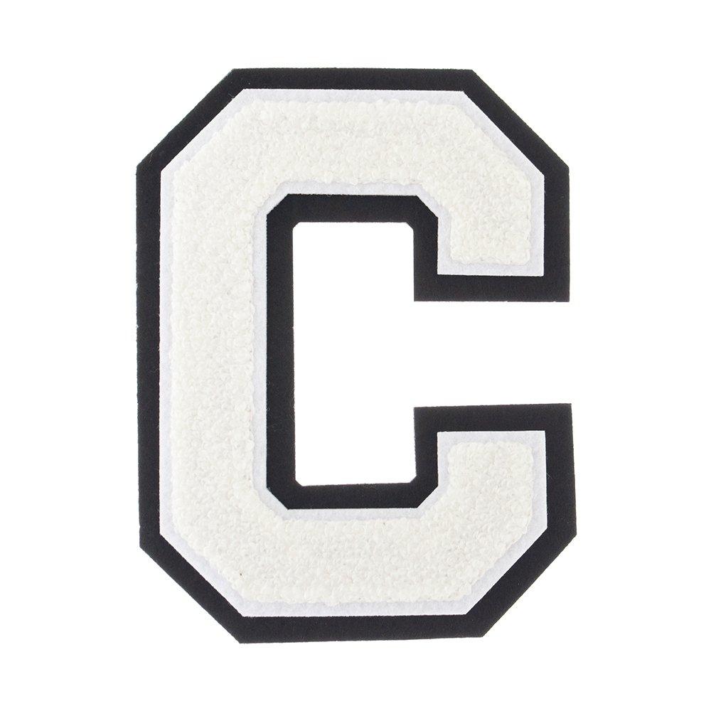 C - White on Black - 4 1/2 Inch Heat Seal/Sew On Chenille Varsity Letter