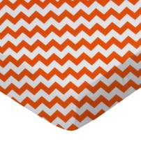 SheetWorld Fitted Basket Sheet - Orange Chevron Zigzag - Made In USA