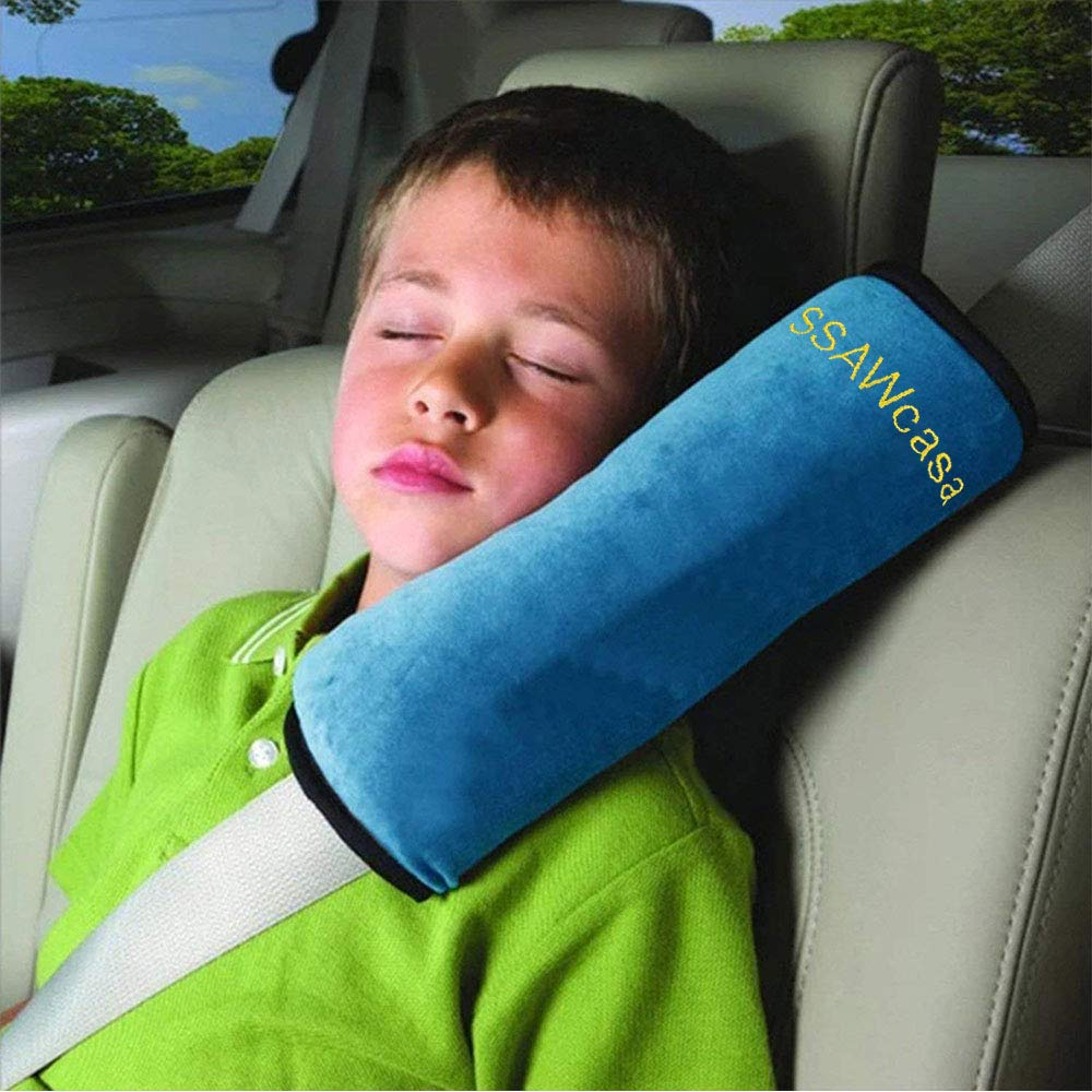 SSAWcasa Seat Belt Covers for Kids,Adjust Vehicle Shoulder Pads Pillow,Car Safety Belt Protector Cushion,Plush Soft Auto Seatbelt Strap Pad Cover Headrest Neck Support for Children Baby (Blue)