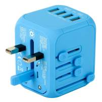 Upgraded Universal Travel Adapter, Castries All-in-one Worldwide Travel Charger Travel Socket, International Power Adapter with 4 USB Ports, AC Plug for Over 150 Countries, Travel Accessories, Blue