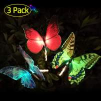TekHome 2019 Top Garden Decor Solar Butterfly Lights Outdoor Decorative, 3 Pack of Red Blue Yellow.