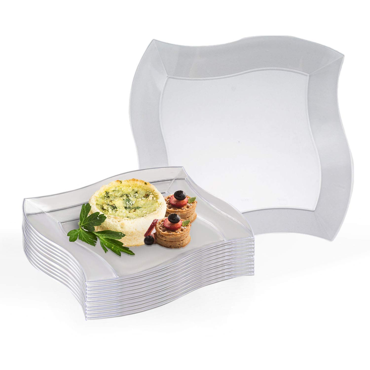 """Elegant Disposable Plastic Dessert Plates 120 Pcs - 7"""" Heavy Duty Wave Clear Salad Plates - Reusable Appetizer Cake Plates - Bulk Party Supplies For Wedding, Easter, Birthday Parties & All Occasions"""