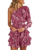 Hestenve Womens Off Shoulder Floral Dress Boho Layered Ruffle Party Dresses