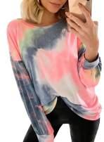 FIYOTE Women Casual Pullover Tops Tie Dye Long Sleeve Lightweight Sweatshirt Blouses