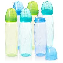 Evenflo Feeding Premium Proflo Vented Plus Polypropylene Baby, Newborn and Infant Bottles - Helps Reduce Colic - Teal/Green/Blue, 8 Ounce (Pack of 6)