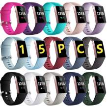 GEAK Sport Bands for Fitbit Charge 4/Fitbit Charge 3/Charge 3 SE, Waterproof Accessories Compatible with Fitbit Charge 3 Bands for Women Men,Small Large 15 Pack