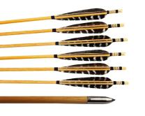 Huntingdoor 12 Pcs Turkey Feather Fletching Wooden Arrows Archery Target Arrows with Field Points for Recurve Bow or Longbow Targeting Practice Shooting