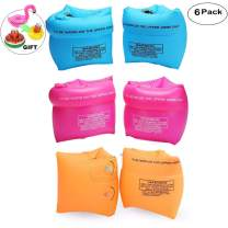 Jiareet PVC Arm Floaties Inflatable Swim Arm Bands Floater Sleeves Swimming Rings Tube Armlets for Kids Toddlers and Adults 6 Pack (3colors)