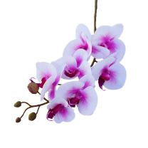 Calcifer 10 Pcs Artificial Real Touch Latex Phalaenopsis Orchid Stem Bouquets Artificial Flowers for Wedding Party Home Garden Decor (White&Purple Heart)