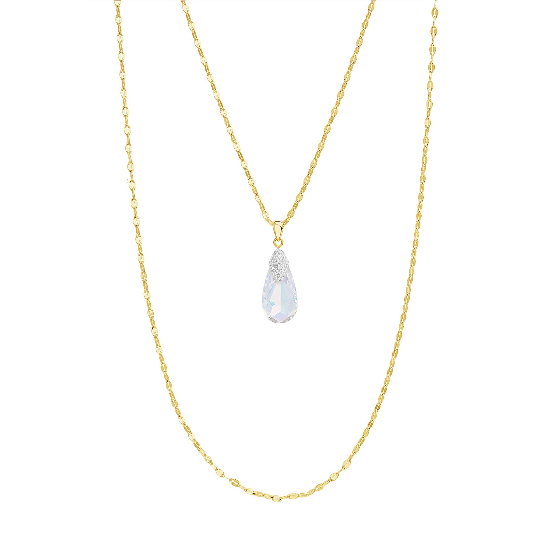 Devin Rose Yellow Gold Plated Sterling Silver Double Layered Teardrop Necklace for Women made With Swarovski Crystals (Color: Aurore Boreale)
