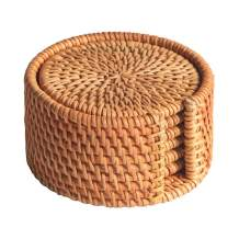 Rattan Coasters, Handmade Teacup Coasters, Creative Gift for Kitchen Table Drinks Crafts Round Natural Coasters Coasters Set (3.94in)