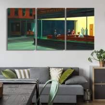 """wall26 - Nighthawks by Edward Hopper - Canvas Art Wall Decor - 16""""x24""""x3 Panels"""