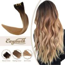 Easyouth Clip in Real Remi Hair Extensions 18inch Ombre Color #2T6T27 Darkest Brown Fading to Middle Brown Fading to Honey Blonde Double Weft Clip on Human Hair Extensions for Women 100Gram 7Pieces