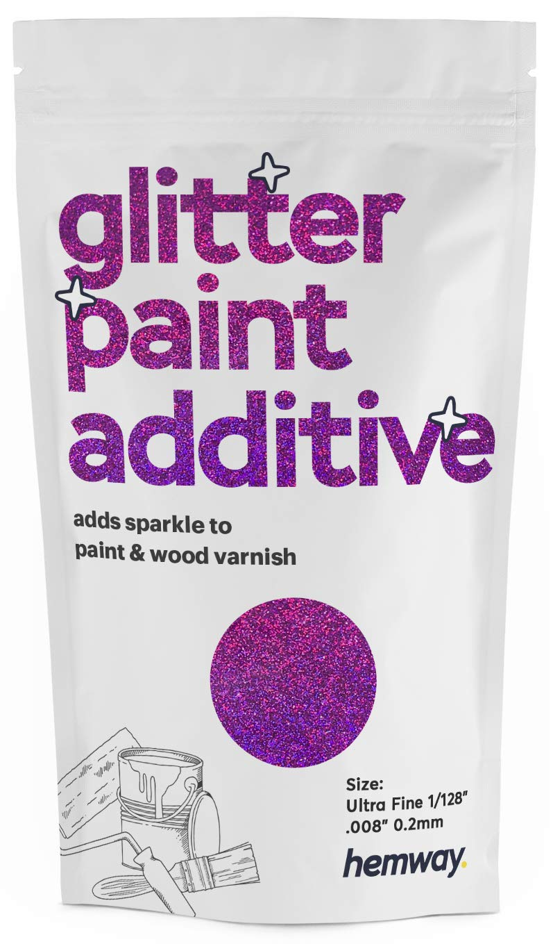 "Hemway Glitter Paint Additive Ultrafine 1/128"" .008"" 0.2MM Emulsion Water Based Paints Wall Ceiling 100g / 3.5oz (Purple Holographic)"