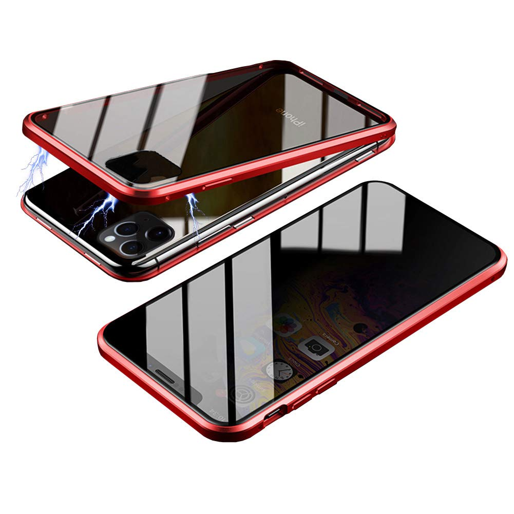 Magnetic Case for iPhone 11, HONTECH Slim Privacy Magnetic Adsorption FrontandBackTemperedGlasswithBuilt-inScreenProtectorMetalBumperFlipCover 6.1 inch, Red