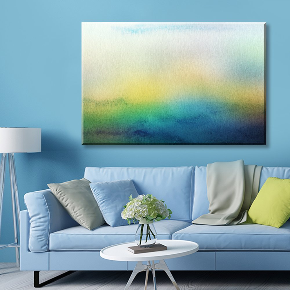 wall26 Canvas Wall Art - Watercolor Painting Style Abstract Seascape - Giclee Print Gallery Wrap Modern Home Decor Ready to Hang - 12x18 inches