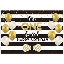 Allenjoy 7x5ft Mr Onederful Backdrop Our Little Gentleman Boys 1st First Birthday Party Supplies White Black Stripes Decorations Gold Glitter Ballons Baby Shower Photography Background Props Favors
